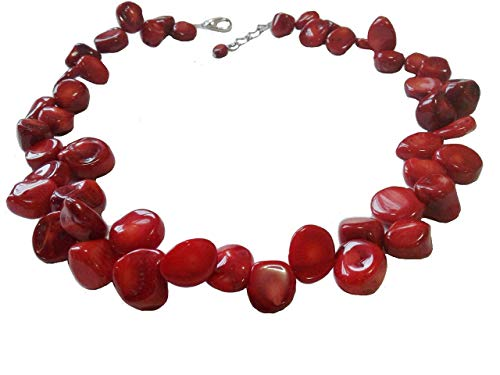 Red Coral Chunky Necklace, 17 Inches