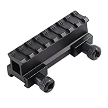 """Higoo® Tactical Compact High Profile One Inch 1"""" High Picatinny Riser Mount(1"""" H x 3.35"""" L) for Scope and Optics"""