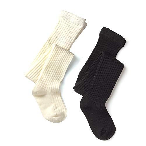 - School Kids Girls Cotton Legging Tight Waffles & Ribbed Knit Black Cream Lt.grey Oatmeal … (Rib Black White, 3-4 years)