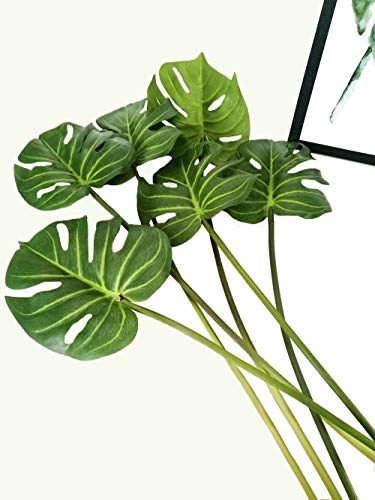 cial Tropical Monstera Palm Tree Leaves for Home Decorations 24.5 inch Stem ()