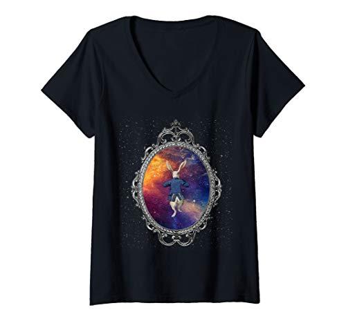 Womens Follow The White Rabbit - Alice In Wonderland T Shirt Design V-Neck T-Shirt