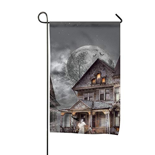 BYUII Dark Ghost Holiday Halloween Haunted House Tree Raven Clip Art Welcome Garden Flag Vertical Outdoor and Indoor for $<!--$7.21-->