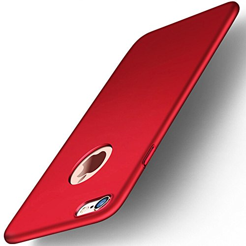 iPhone 6/6s Case, Protective PC Hard Case for Apple iPhone 6/6s, Shockproof Cover for 4.7 inches iPhone 6/6s and FREE Tempered Glass Screen Protector (Red)