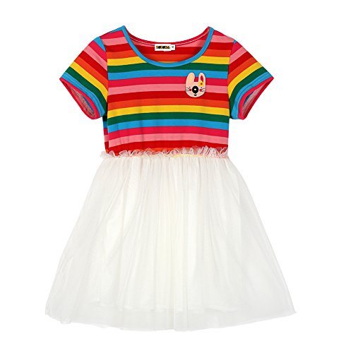 Girls Toddler Rainbow Stripe Tutu Top Skirt Doll Tulle Party Dress Outfit