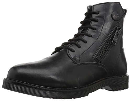 A|X Armani Exchange Mens Lace up Side Zip With Sole Detail Military and Tactical Boot Nero