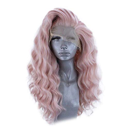 Inkach Blonde Lace Front Short Wavy Wigs for Black Women Kinky Curly Full Wigs with Baby Hair Wig Heat Resistant Synthetic Fiber Costume Party Wig (Pink) -