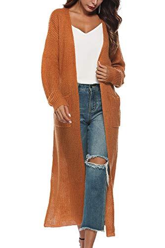 Tricot Sweater Gilet Cardigan Landove Ouvert Femme Outwear Chandail Casual Tunique Orange Long Pull Asymetrique Crochet Manteau Longue Elegant Irrégulier V Maille Manche Col Mi Blouson Sweatshirt ZwwxFPrX