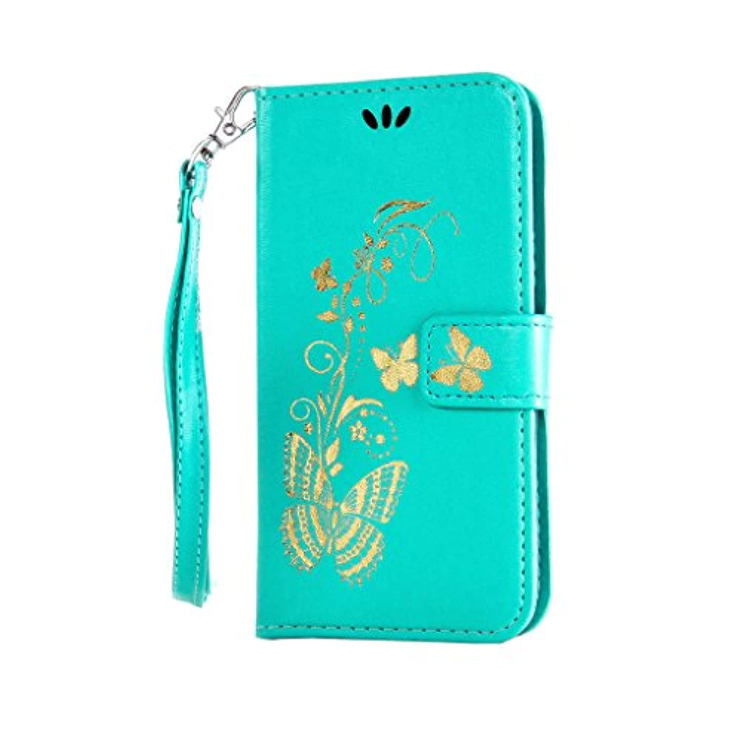 """iPhone 6 6S Plus Case [With Free Tempered glass screen protector],W-Pigcase High Quality PU Leather With Printed Gold Butterfly Pattern With Magnetic Book Wallet Protective Cover Case For iPhone 6 Plus/6S Plus 5.5"""" inch -black"""