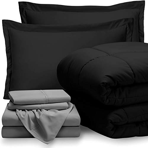 Bare Home Bed-in-A-Bag 7 Piece Comforter & Sheet Set - California King - Goose Down Alternative - Ultra-Soft 1800 Premium - Hypoallergenic - Breathable Bedding Set (Cal King, Black/Light Grey)