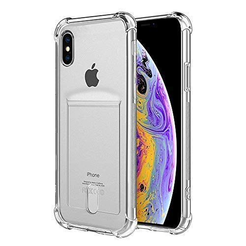 low priced fc185 5cce8 ANHONG iPhone X,iPhone Xs Clear Case with Card Holder, [Slim Fit][Wireless  Charger Compatible]Protective Soft TPU Shock-Absorbing Bumper Case With ...