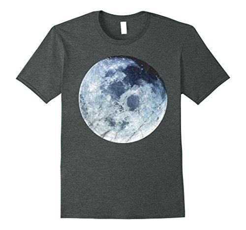 Mens Full Blue Moon Distressed Art Space Astronomy T-Shirt 3XL Dark Heather