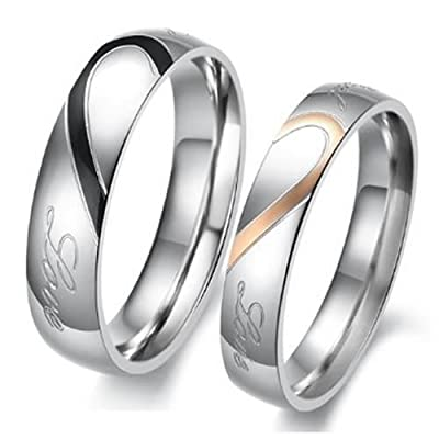 "KONOV Jewelry Mens Womens Heart Stainless Steel Promise Ring ""Real Love"" Couples Wedding Bands"
