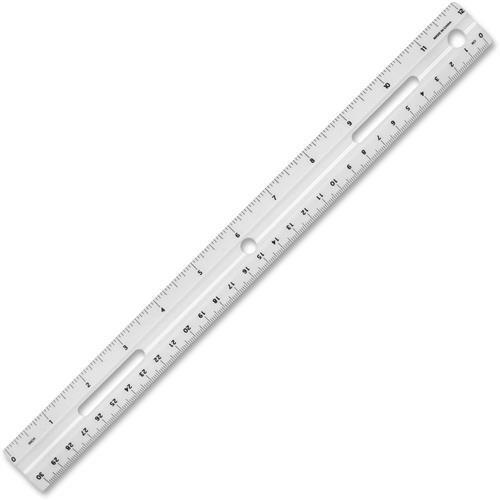 White Plastic Ruler - Business Source 32365 Plastic Ruler, Beveled Edges, 12