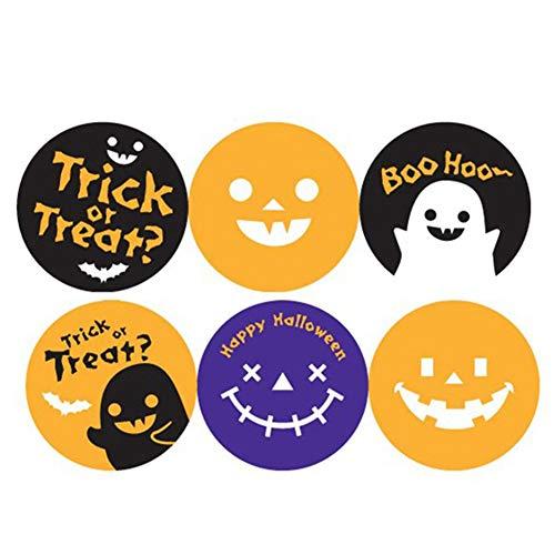 XNTBX Halloween Candy Bag Sealing Sticker - Halloween Decoration Sticker Gift Decor Ghost Pumpkin Bats (A) 300Pcs -