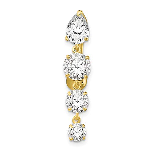 10k Yellow Gold Polished Open back Screw back Tops Down With 4 Dangle Cubic Zirconias Belly Ring Dangle by JewelryWeb (Image #2)