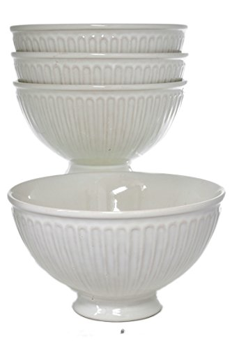 Set 4 Pedestal Base Footed Ivory/Bisque Classic Greek Embossed Soup Cereal Bowls