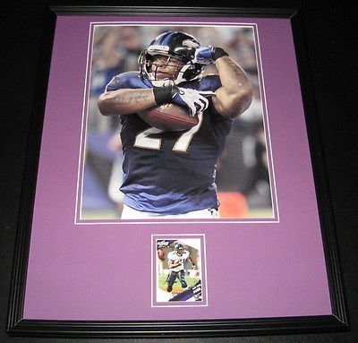 (Ray Rice Signed Framed Rookie Card & Photo Display 16x20 SCORE Ravens Super Bowl )