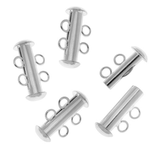Beadaholique Tube Clasp with 2-Ring Strands, 16.5mm, Silver, Set of 4
