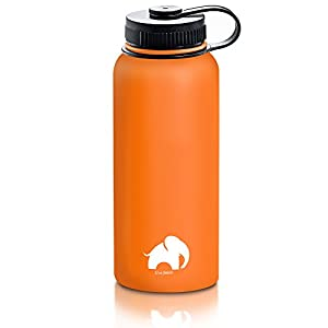 Stainless Steel Water Bottle By Cool Elephant - 32 oz Water Bottle - Insulated Thermo - Double Walled Wide Mouth Bottle – Leak & Sweat Proof Bottle - Non-Toxic BPA Free - Cold/Hot Drinks For 12 Hours+