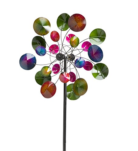 "Wind & Weather KA6922 Garden Wind Spinner, 23.5"" x 7.75"" x 75"", Multicolor"