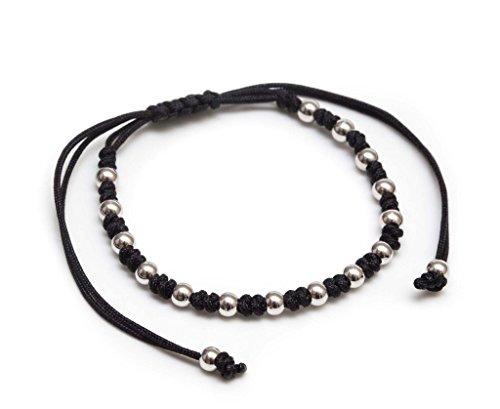 Bracelet Black Adjustable Macrame - ZENGER Jewelry Andrew Macrame Bracelet - 4mm 18kt White Plated Steel Beads, Adjustable, Black
