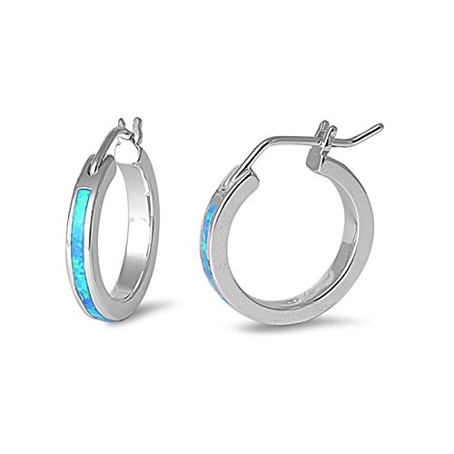 (21mm Created Blue Opal Studs Hinge with Notched Post Hoop Earrings 925 Sterling Silver)