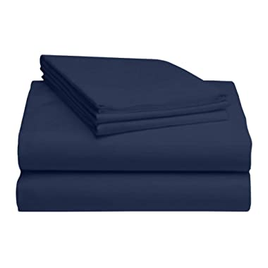 LuxClub 4 PC Microfiber and Bamboo Sheet Set: Bamboo Bedding Sheets with Microfiber - Softer and More Breathable Than Cotton - Antibacterial and Hypoallergenic - Machine Washable, Rich Navy, King