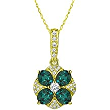 Natural Color Changing Alexandrite Diamond Necklace Pendant in 14 K White & Yellow Gold With Chain