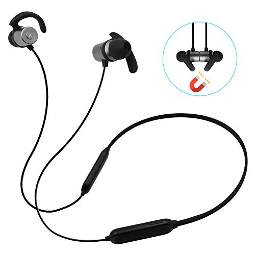 (Macally Bluetooth Headphones, Wireless Sport Earphones w/aptX Audio, Magnetic On/Off, Bluetooth 4.1, IPX4 Sweatproof, CVC 6.0 Noise Cancelling Headset with Built in Mic for Workout, Running, Gym)