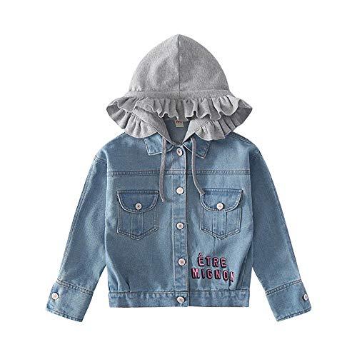 Star Flower Little Big Girls Denim Jackets Coats Outwear (12, Blue(Button))