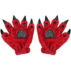 Adult Teens Halloween Cosplay Gloves Winter Warm Plush Animal Costume Dinasour Bear Panda Cat Paw Claw Hand Gloves Fancy Party Props Gift (Red)