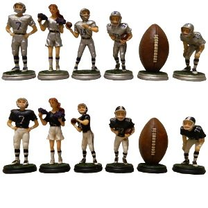 Wood Expressions Hand Painted Football Polystone Chess Pieces ()