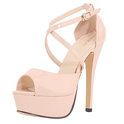 ZriEy Women's Sexy Noble Platform Sandals Ankle Strap High Heels for Cocktail Prom Party Wedding Dancing Shoes Nude Size 7.5 /38M EU
