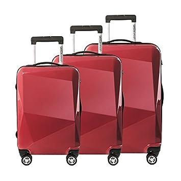 3 Set maletas de viaje 3 pcs. Set maleta Maleta con ruedas Carcasa dura Maleta de carcasa dura Casos de viajes de Policarbonato DIAMOND - Rojo, ...