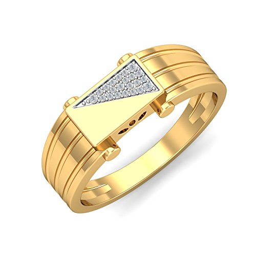 KuberBox 14KT Yellow Gold and Diamond Ring for Men
