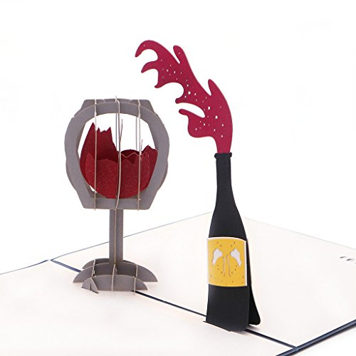 Handmade 3D Pop Up Red Wine Greeting Card,Bottone Merry Christmas Thanksgiving Thank You Creative Best Wishes Greeting Cards Papercraft