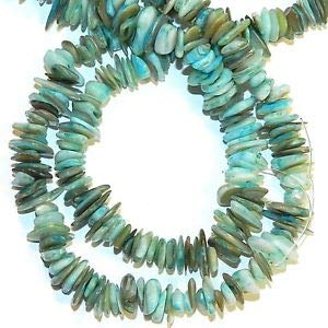 MP2620f Blue 8mm - 14mm Flat Chip Mother of Pearl Gemstone Shell Beads 32