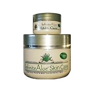 Infinite Aloe Skin Care Cream, Fragrance Free, 8oz. Jar ** (Plus a Bonus 0.5 oz InfiniteAloe Travel Jar) **