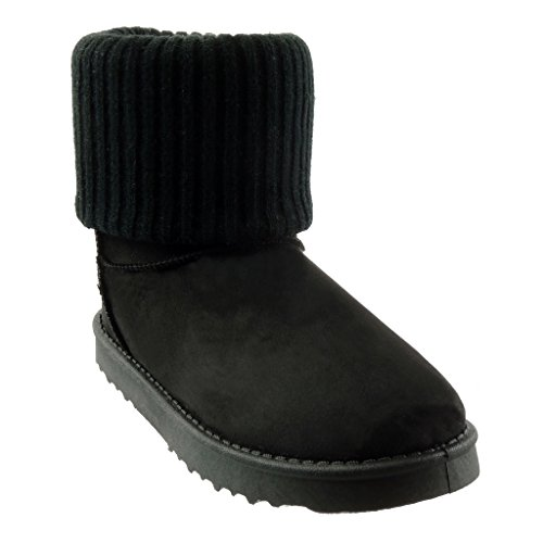 Angkorly classic seams Women's Black heel Snow Booty finish CM Boots Shoes Ankle 2 Fashion boots topstitching flat 5 crochet rrgAq8
