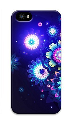 3D Hard Plastic Case With Iphone 5/5S 5G,Neon Flower Case Back Cover for iPhone 5 5S