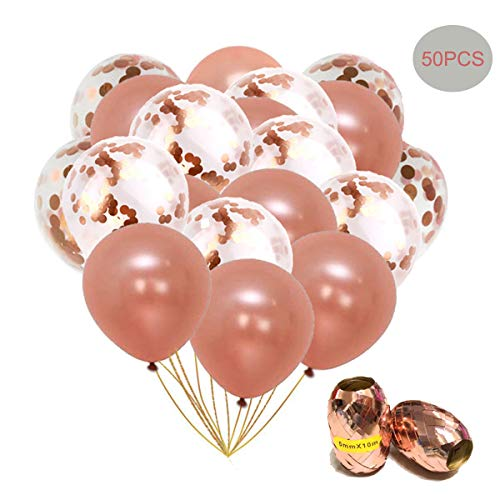 Rose Gold Balloons Rose Gold Confetti Balloons 12 Inch 50 Pcs for Weddings Birthdays Party Graduations Baby Showers Valentine's Day Graduation (Rose Gold Balloons for Rose Gold 40+Confetti 10) ()
