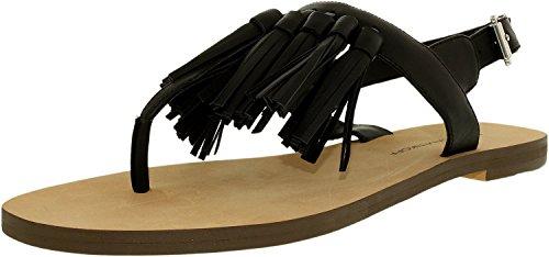 Rebecca Minkoff Women's Erin Flat Sandal, Black, 8.5 M - Leather Erin