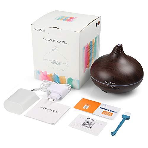 Diffusore di Aromi 300ml InnooCare Umidificatore a Ultrasuoni per Aromaterapia con Venature in Legno con 7 LED Colorati per Casa, Yoga, Ufficio (Tipo 1)