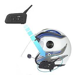 Motorcycle Communication Headset Helmet Bluetooth Dual Intercom Full Clip Speaker Headphone 6 Riders 500m Talk for Skiing, Camping, Hiking, Scooter, Gokart, 4 Wheeler, ATV Vnetphone(1 Pack)
