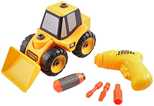Cooltoys Take A Part Front Loader Toy With Fully Functioning Toy Drill   Includes 16 Removable Parts   Interactive Front End Bucket Truck   Fun Educational Toys For Kids