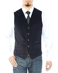 Luciano Natazzi Men\'s Shawl Lapel Casual Velvet Vest Modern Fit Dress Suit Vest (52 US / 62 EU, Black)