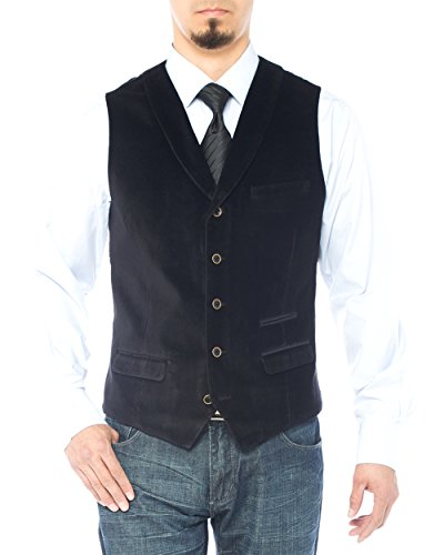 Cotton Velvet Vest (Luciano Natazzi Men's Shawl Lapel Casual Velvet Vest Modern Fit Dress Suit Vest (44 US / 54 EU, Black))