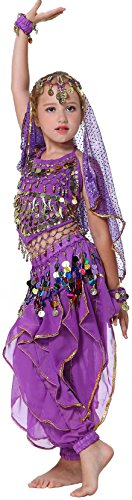 Seawhisper Toddler Belly Dance Costume Shimmer and Shine Halloween Costumes Dark Purple for 12 14 16