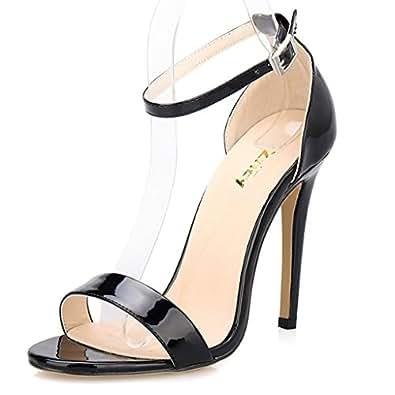 zriey women 39 s ankle strap dress high heel sandals stilettos 11cm open toe heeled. Black Bedroom Furniture Sets. Home Design Ideas