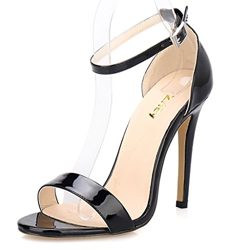ZriEy Women's Ankle Strap Dress High Heel Sandals Stilettos 11CM Open Toe Heeled Sandal Patent Leather Black Size